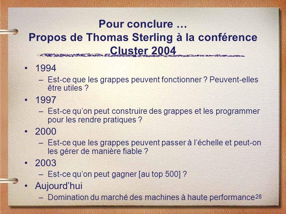 26 Pour conclure … Propos de Thomas Sterling à la conférence Cluster 2004 1994 –Est-ce que les grappes peuvent fonctionner ? Peuvent-elles être utiles