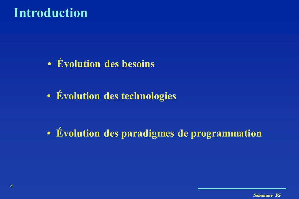 Séminaire IG 65 ORACLE 8 et … Tables imbriquées CREATE TABLE DEPT ( Ndept NUMBER PRIMARY KEY, Employes Emps_t) NESTED TABLE employes STORE AS Tabemp; INSERT INTO DEPT VALUES (4, Emps_t(Emp_t (154..,Louis, 51), Emp_t(264…,Nina,41), …..); INSERT INTO THE (SELECT d.employes FROM DEPT d WHERE D.Ndept=4) VALUES (174 …,René,31) THE référence la table imbriquée ….