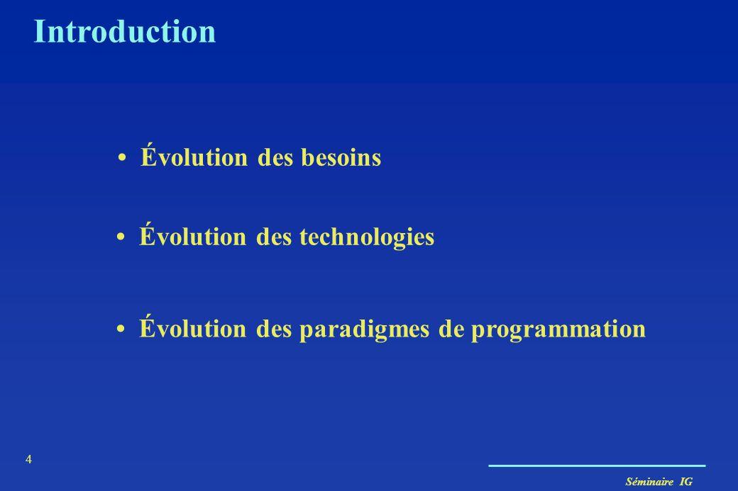 Séminaire IG 4 Introduction Évolution des paradigmes de programmation Évolution des besoins Évolution des technologies