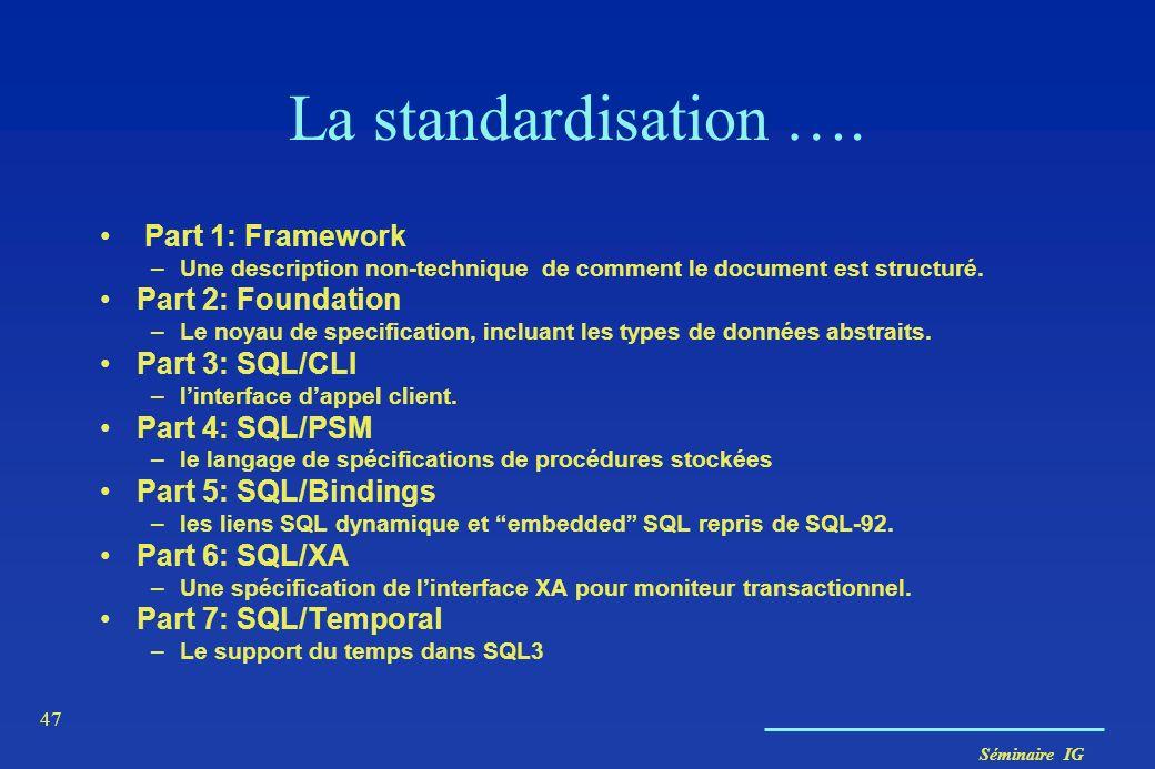 Séminaire IG 47 La standardisation …. Part 1: Framework –Une description non-technique de comment le document est structuré. Part 2: Foundation –Le no