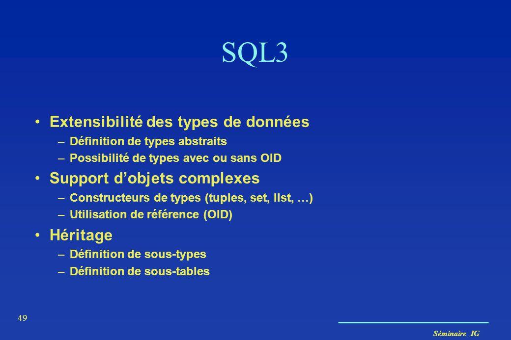 Séminaire IG 49 SQL3 Extensibilité des types de données –Définition de types abstraits –Possibilité de types avec ou sans OID Support dobjets complexe