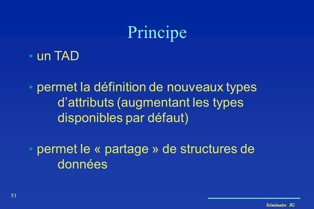 Séminaire IG 51 Principe un TAD permet la définition de nouveaux types dattributs (augmentant les types disponibles par défaut) permet le « partage »