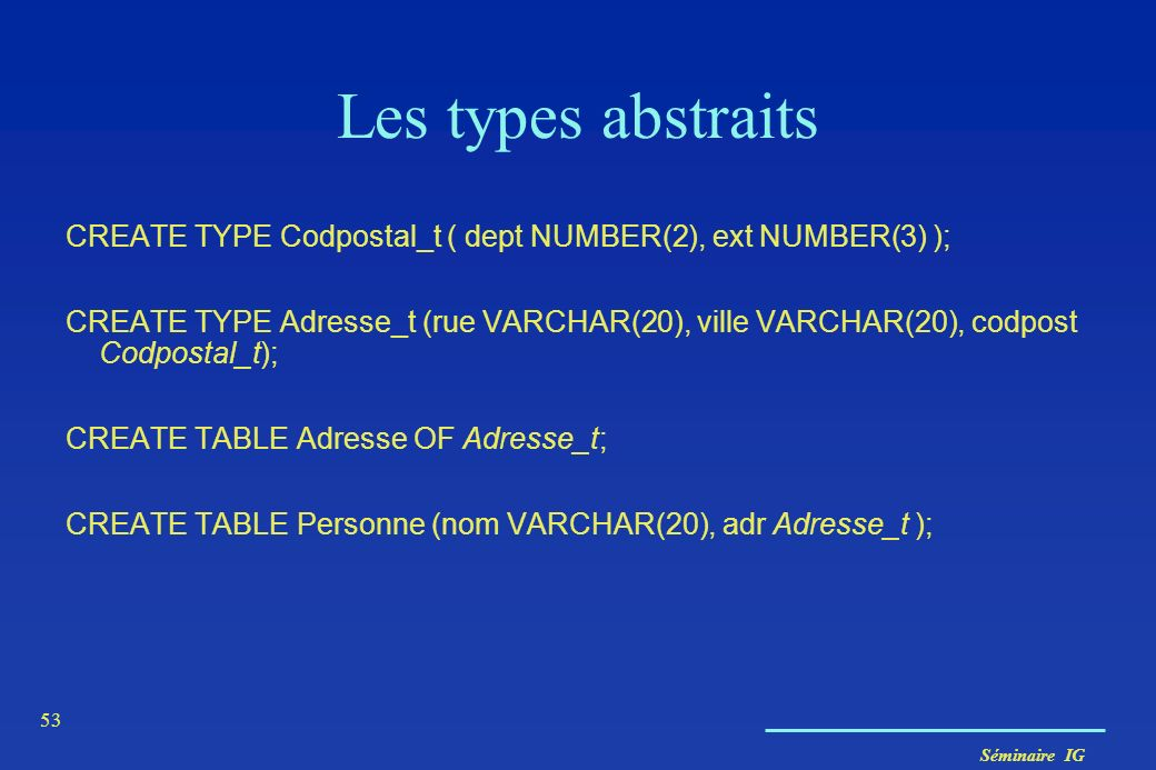 Séminaire IG 53 Les types abstraits CREATE TYPE Codpostal_t ( dept NUMBER(2), ext NUMBER(3) ); CREATE TYPE Adresse_t (rue VARCHAR(20), ville VARCHAR(2