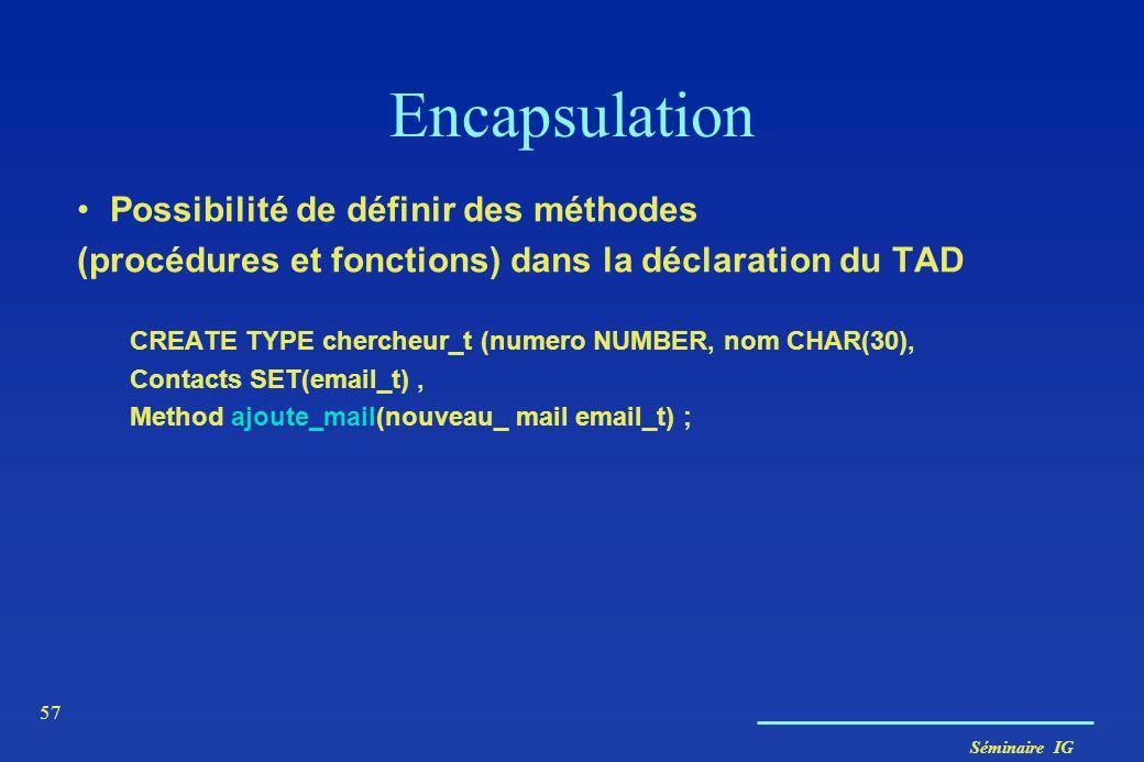 Séminaire IG 57 Encapsulation Possibilité de définir des méthodes (procédures et fonctions) dans la déclaration du TAD CREATE TYPE chercheur_t (numero