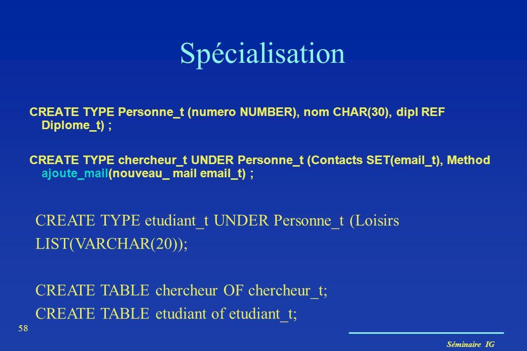 Séminaire IG 58 Spécialisation CREATE TYPE Personne_t (numero NUMBER), nom CHAR(30), dipl REF Diplome_t) ; CREATE TYPE chercheur_t UNDER Personne_t (C