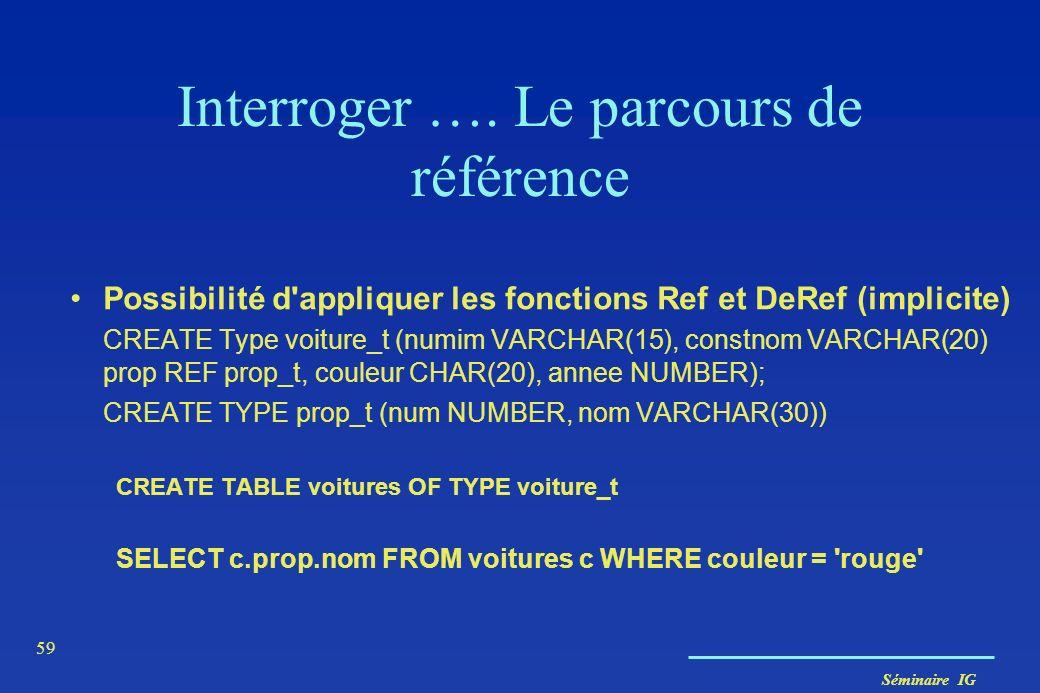 Séminaire IG 59 Interroger …. Le parcours de référence Possibilité d'appliquer les fonctions Ref et DeRef (implicite) CREATE Type voiture_t (numim VAR