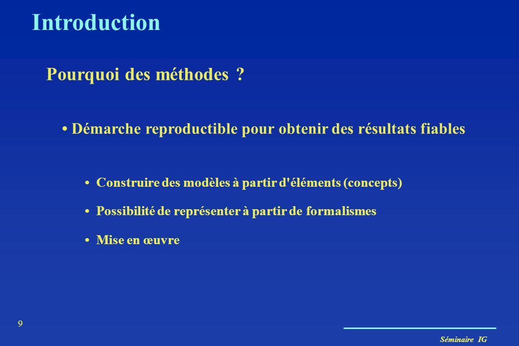 Séminaire IG 9 Introduction Pourquoi des méthodes ? Démarche reproductible pour obtenir des résultats fiables Construire des modèles à partir d'élémen