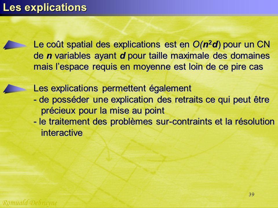 39 Les explications Le coût spatial des explications est en O(n 2 d) pour un CN de n variables ayant d pour taille maximale des domaines mais lespace