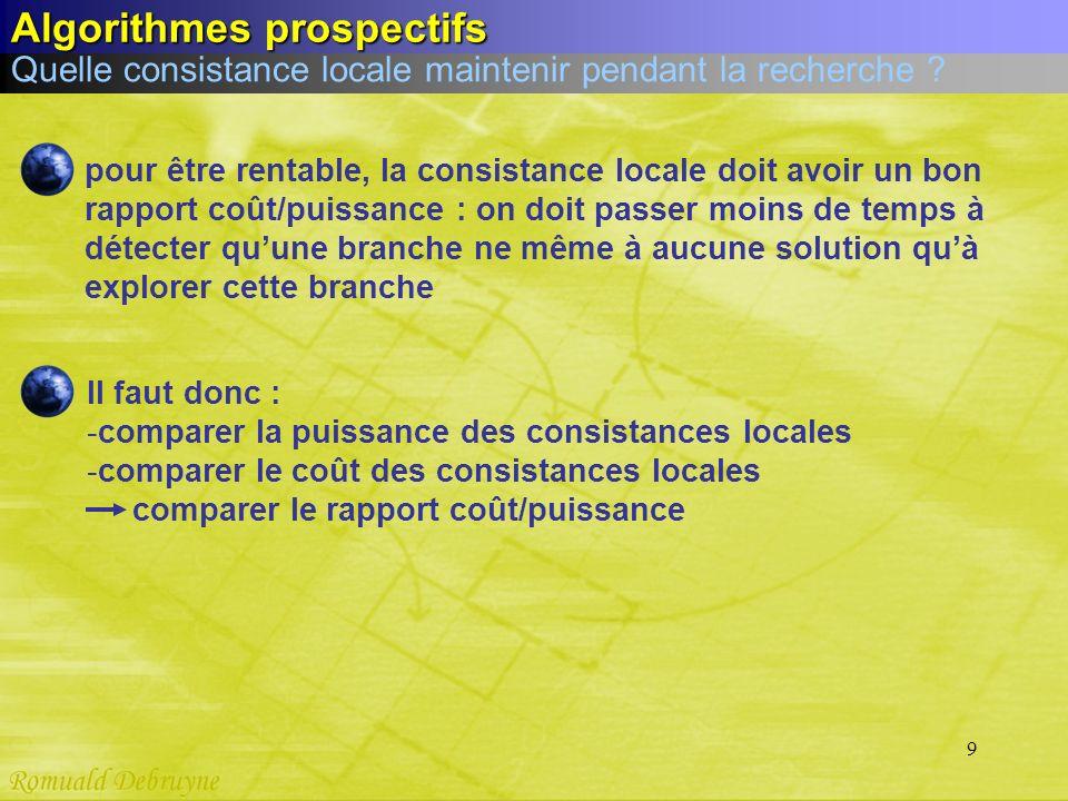 9 Quelle consistance locale maintenir pendant la recherche ? Algorithmes prospectifs pour être rentable, la consistance locale doit avoir un bon rappo