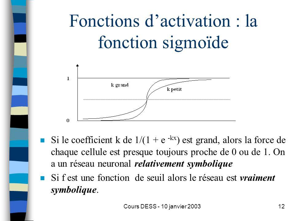 Cours DESS - 10 janvier 200312 Fonctions dactivation : la fonction sigmoïde n Si le coefficient k de 1/(1 + e -kx ) est grand, alors la force de chaqu