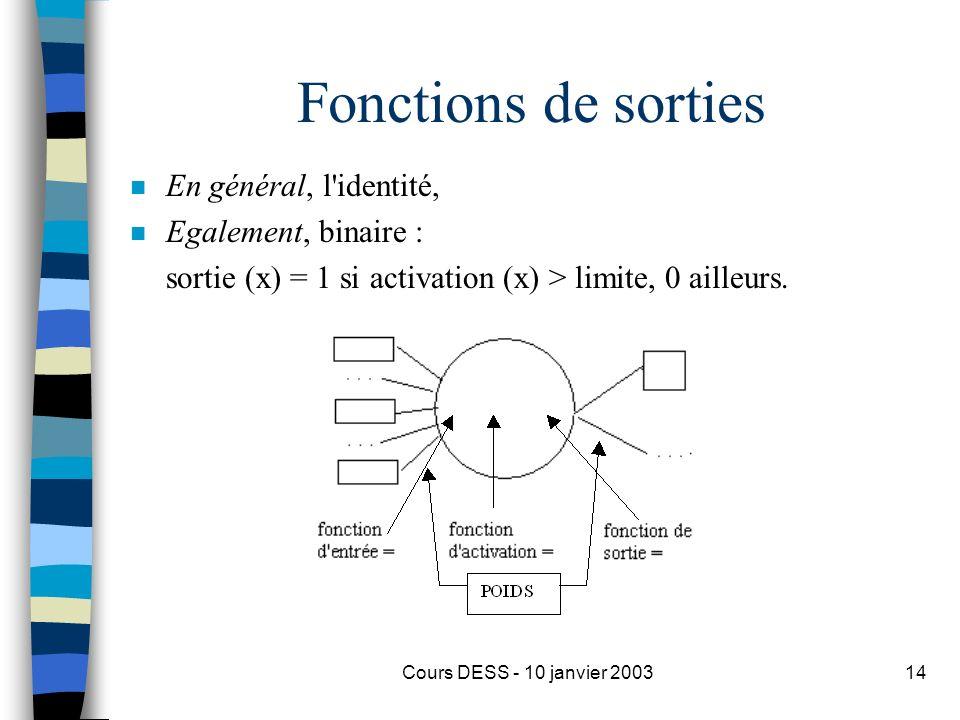 Cours DESS - 10 janvier 200314 Fonctions de sorties n En général, l'identité, n Egalement, binaire : sortie (x) = 1 si activation (x) > limite, 0 aill
