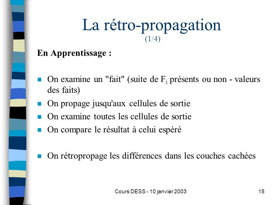 Cours DESS - 10 janvier 200315 La rétro-propagation (1/4) En Apprentissage : n On examine un