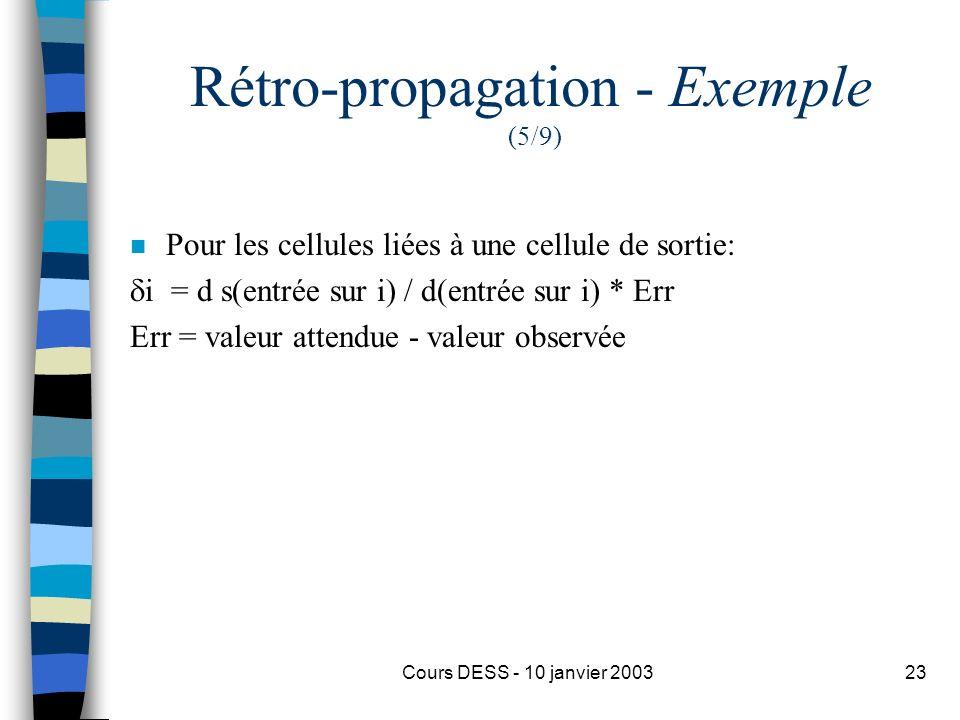 Cours DESS - 10 janvier 200323 Rétro-propagation - Exemple (5/9) n Pour les cellules liées à une cellule de sortie: i = d s(entrée sur i) / d(entrée s