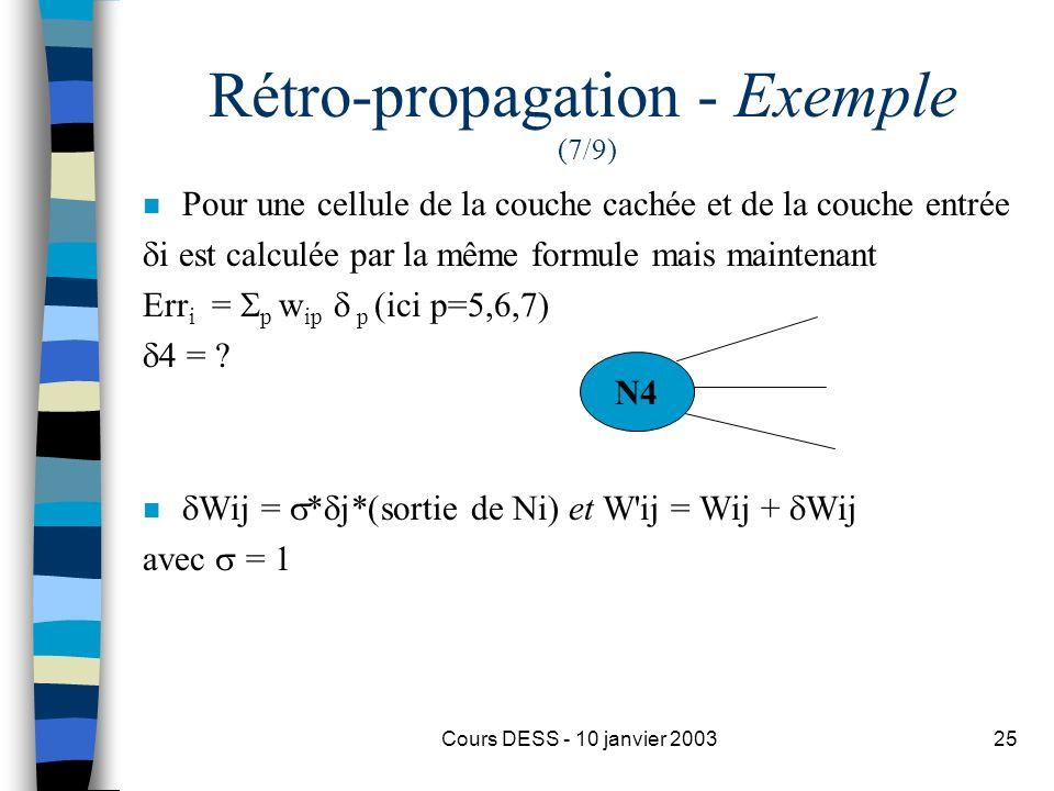 Cours DESS - 10 janvier 200325 Rétro-propagation - Exemple (7/9) n Pour une cellule de la couche cachée et de la couche entrée i est calculée par la m