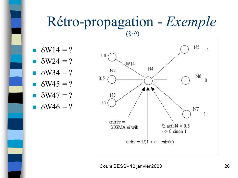 Cours DESS - 10 janvier 200326 Rétro-propagation - Exemple (8/9) n W14 = ? n W24 = ? n W34 = ? n W45 = ? n W47 = ? n W46 = ?