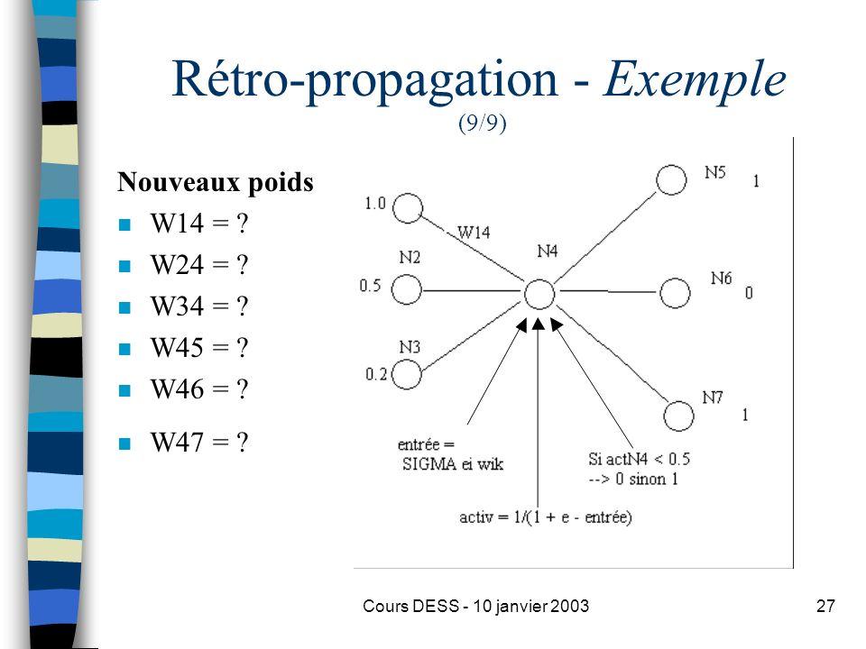 Cours DESS - 10 janvier 200327 Rétro-propagation - Exemple (9/9) Nouveaux poids n W14 = ? n W24 = ? n W34 = ? n W45 = ? n W46 = ? n W47 = ?