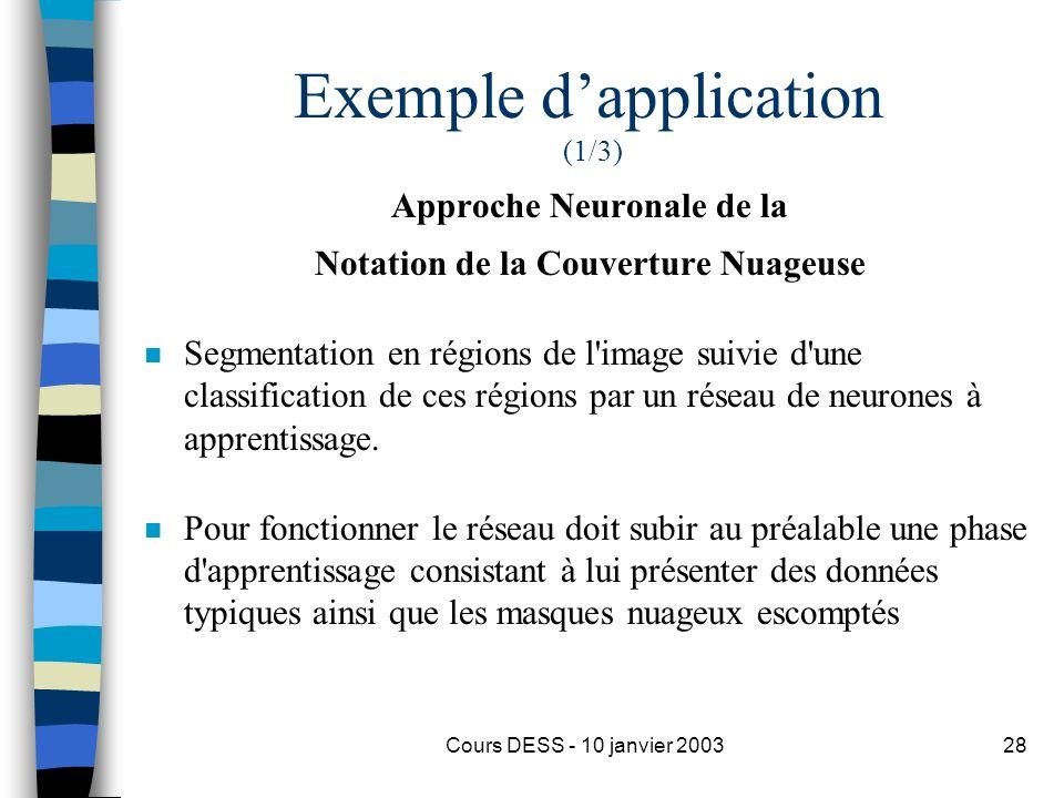 Cours DESS - 10 janvier 200328 Exemple dapplication (1/3) Approche Neuronale de la Notation de la Couverture Nuageuse n Segmentation en régions de l'i