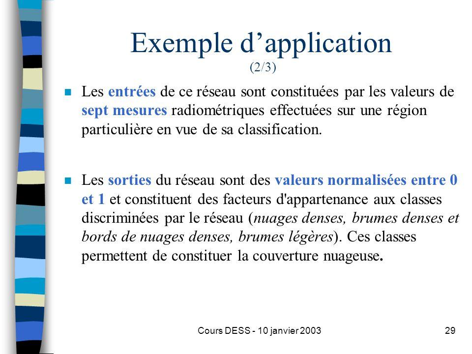 Cours DESS - 10 janvier 200329 Exemple dapplication (2/3) n Les entrées de ce réseau sont constituées par les valeurs de sept mesures radiométriques e