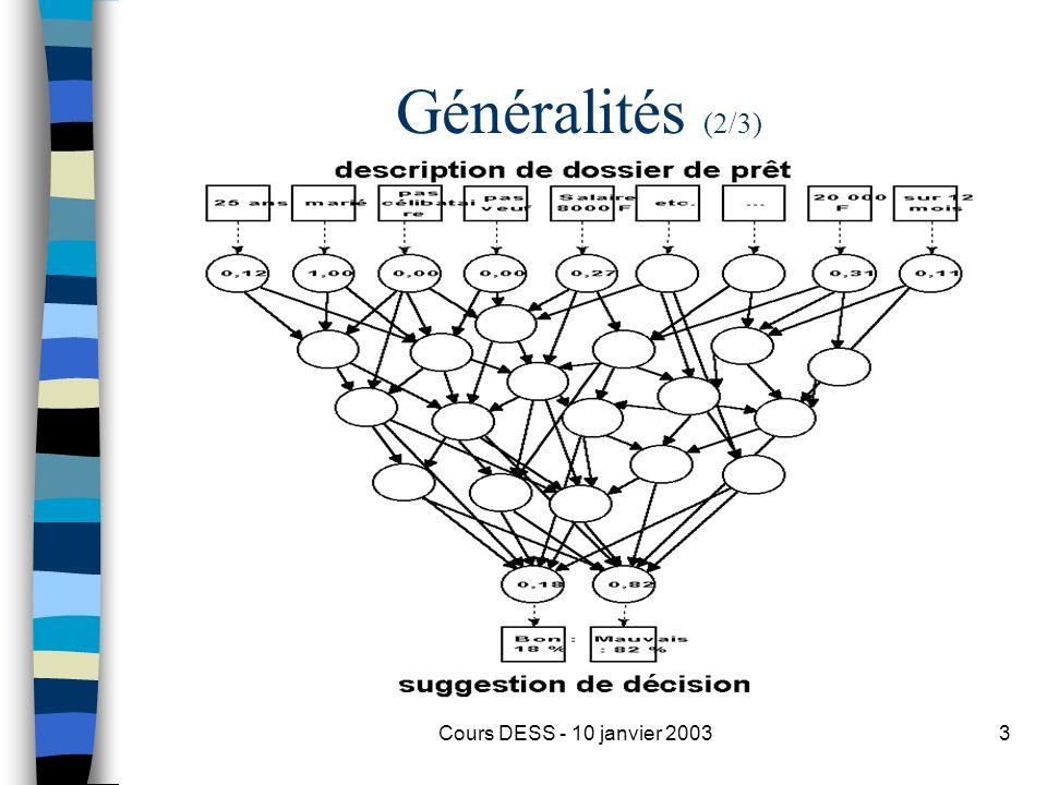 Cours DESS - 10 janvier 20033 Généralités (2/3)