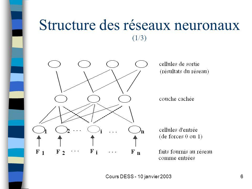 Cours DESS - 10 janvier 20036 Structure des réseaux neuronaux (1/3)