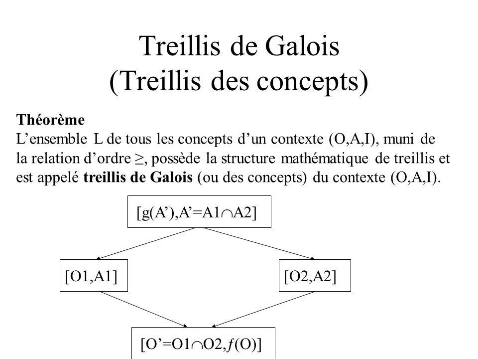 Complexité Opération entre concepts Calcul de lintersection de deux ensembles A1,A2 O(|A1|+|A2|) si A1 et A2 sont triès Calcul de g(A) O( |ƒ(a)|) a A Ceci peut être fait par des opérations binaires rapides.