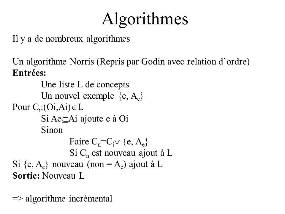 Algorithme RechIrre Entree : un contexte (E,A,R) (relation binaire) Sortie ; lensemble des -irreductibles R=Ø Elimination des égalités (réunion en un seul attribut des attributs tel que e(a1)= e(a2)) Pour chaque attribut a si estIrreductible(a) ajouter a à R retourner Complexité: O(|A] 2 *|E|)
