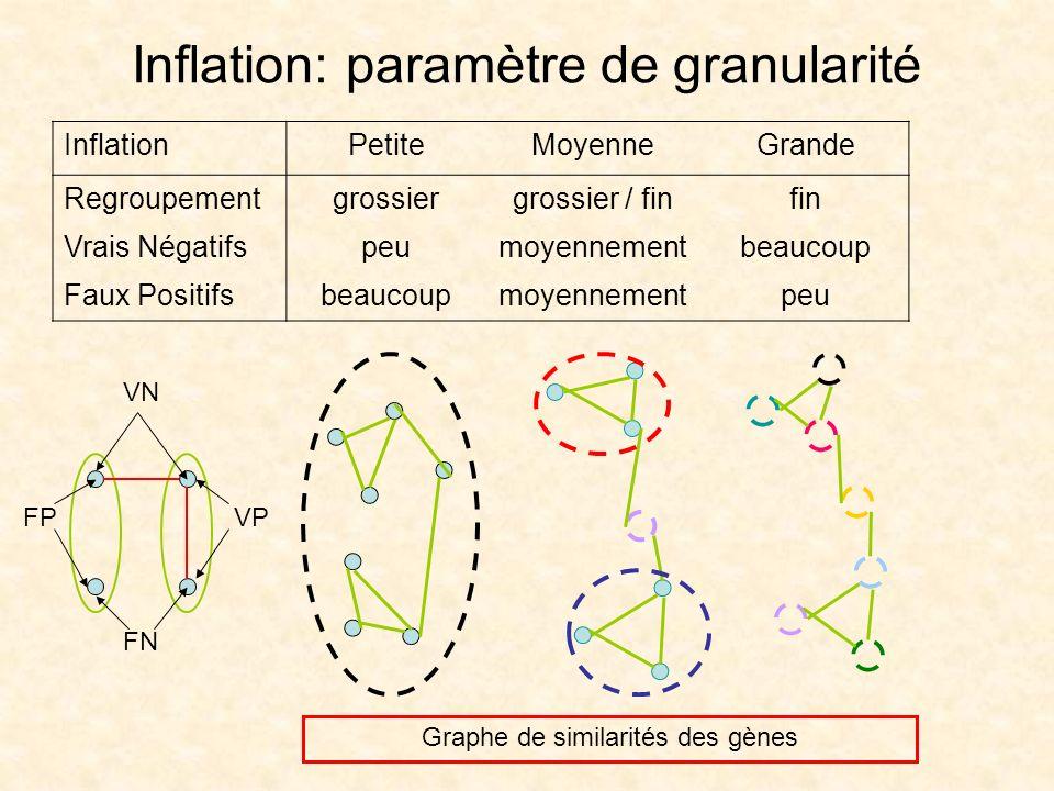 Inflation: paramètre de granularité InflationPetiteMoyenneGrande Regroupementgrossiergrossier / finfin Vrais Négatifspeumoyennementbeaucoup Faux Posit