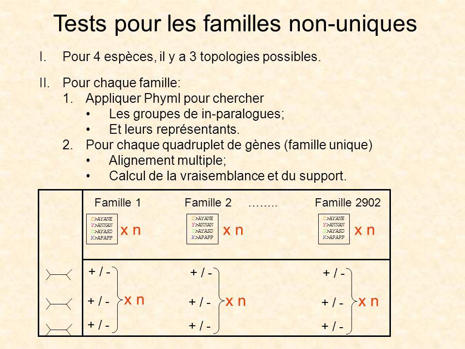 Tests pour les familles non-uniques I.Pour 4 espèces, il y a 3 topologies possibles. II.Pour chaque famille: 1.Appliquer Phyml pour chercher Les group
