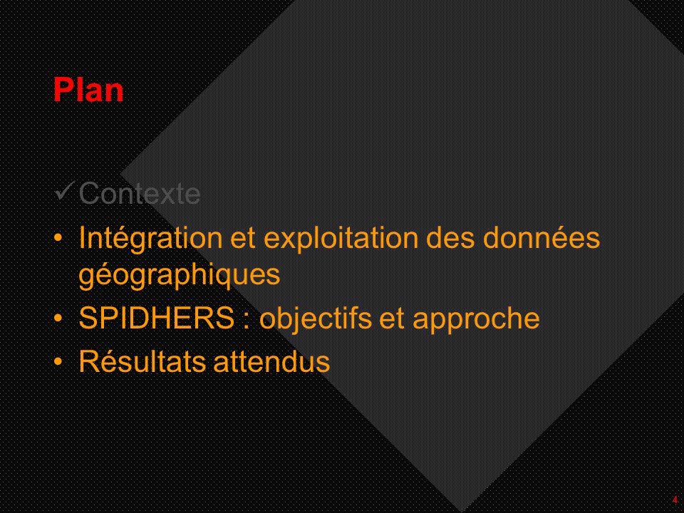 15 Plan Contexte Intégration et exploitation des données géographiques SPIDHERS: objectifs et approche Résultats attendus