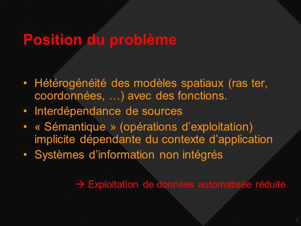 7 Position du problème Hétérogénéité des modèles spatiaux (ras ter, coordonnées, …) avec des fonctions. Interdépendance de sources « Sémantique » (opé