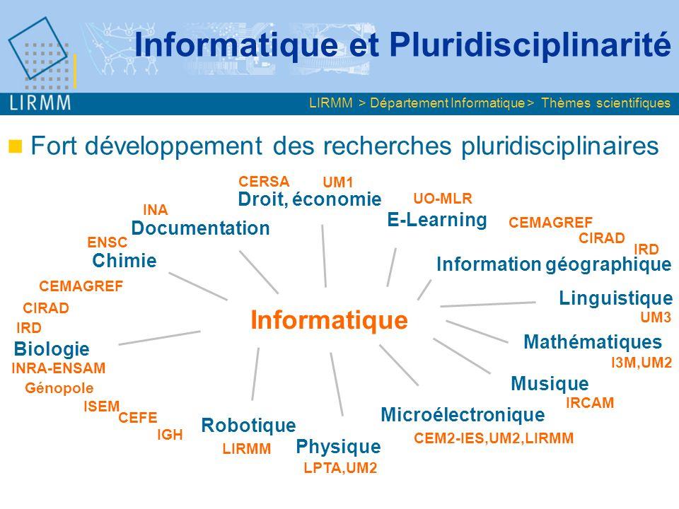 Fort développement des recherches pluridisciplinaires Informatique Biologie Linguistique Robotique Microélectronique Chimie Droit, économie E-Learning Information géographique Mathématiques Physique Documentation CEMAGREF IRD CIRAD ENSC INRA-ENSAM INA CERSA UM1 UO-MLR LPTA,UM2 CEM2-IES,UM2,LIRMM I3M,UM2 Musique IRCAM ISEM LIRMM CEMAGREF UM3 IGH Génopole CIRAD IRD Informatique et Pluridisciplinarité LIRMM > Département Informatique > Thèmes scientifiques CEFE