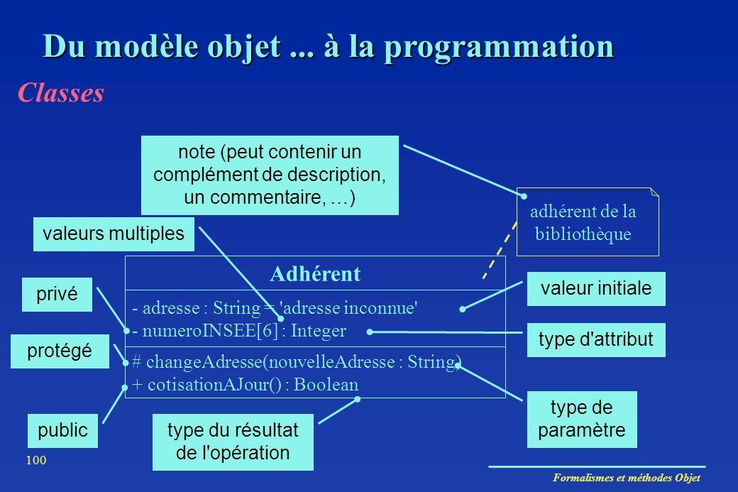Formalismes et méthodes Objet 100 Du modèle objet... à la programmation Classes - adresse : String = 'adresse inconnue' - numeroINSEE[6] : Integer # c