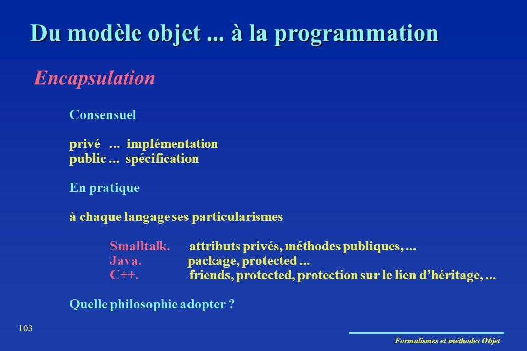 Formalismes et méthodes Objet 103 Du modèle objet... à la programmation Encapsulation Consensuel privé... implémentation public... spécification En pr