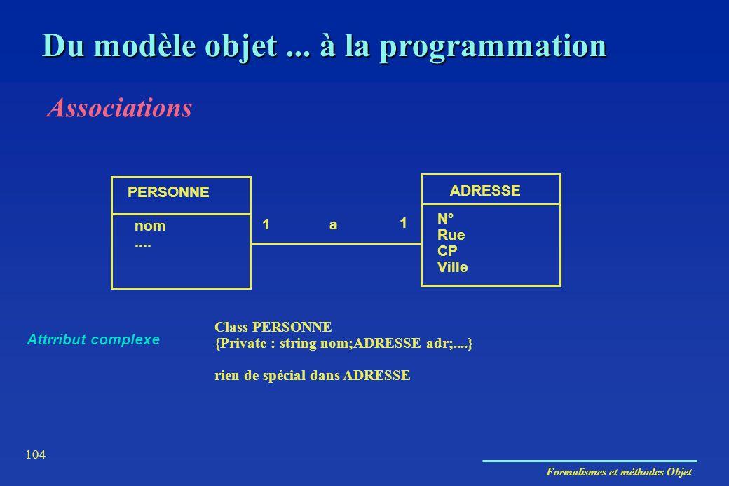 Formalismes et méthodes Objet 104 Du modèle objet... à la programmation Associations PERSONNE ADRESSE nom.... N° Rue CP Ville 1 1 a Class PERSONNE {Pr