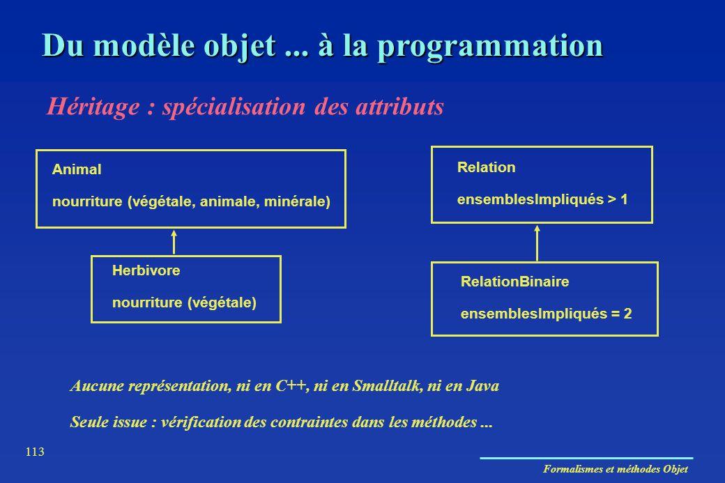 Formalismes et méthodes Objet 113 Du modèle objet... à la programmation Héritage : spécialisation des attributs Animal nourriture (végétale, animale,