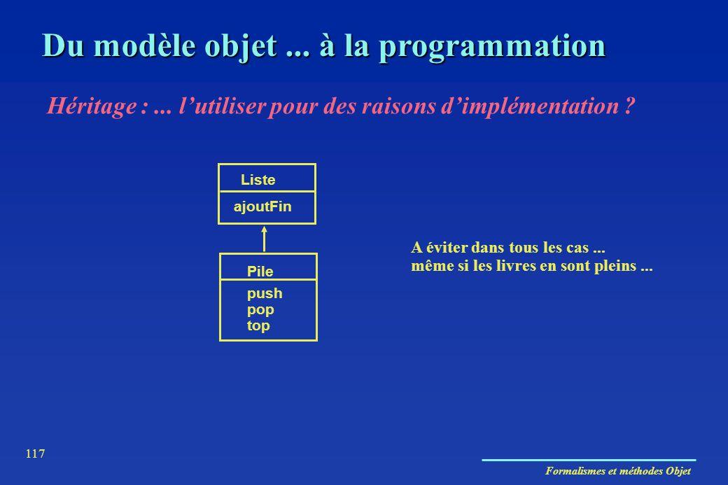 Formalismes et méthodes Objet 117 Du modèle objet... à la programmation Héritage :... lutiliser pour des raisons dimplémentation ? Liste ajoutFin Pile