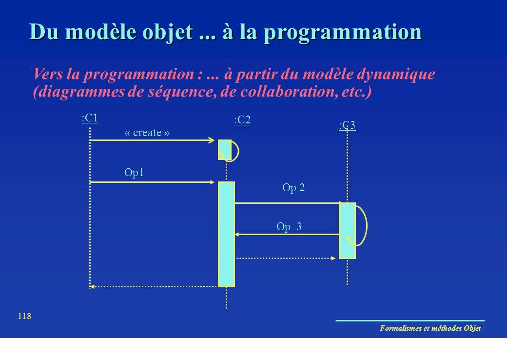 Formalismes et méthodes Objet 118 Du modèle objet... à la programmation Vers la programmation :... à partir du modèle dynamique (diagrammes de séquenc
