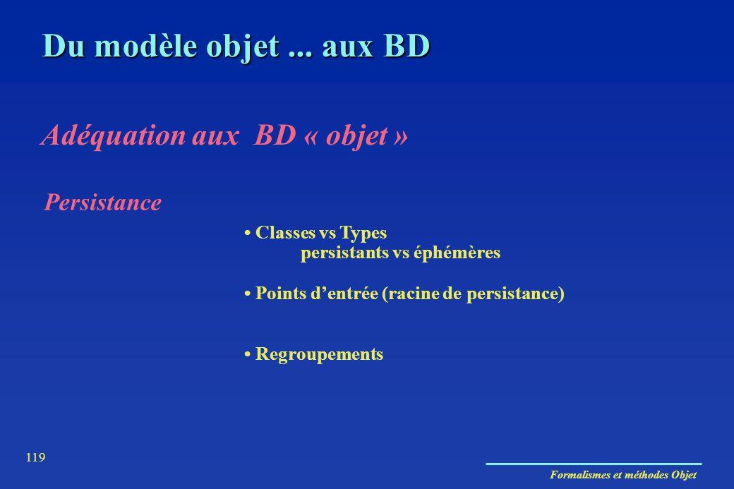 Formalismes et méthodes Objet 119 Persistance Classes vs Types persistants vs éphémères Points dentrée (racine de persistance) Regroupements Du modèle