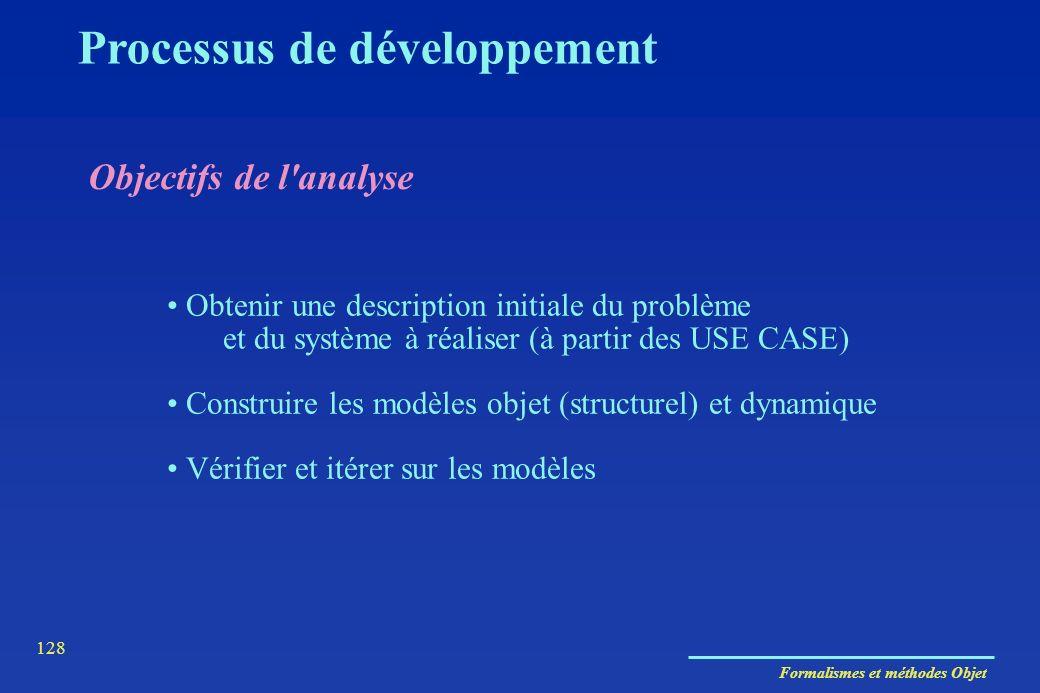 Formalismes et méthodes Objet 128 Processus de développement Objectifs de l'analyse Obtenir une description initiale du problème et du système à réali