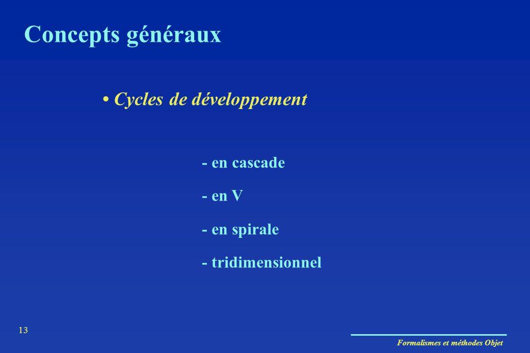 Formalismes et méthodes Objet 13 Concepts généraux Cycles de développement - en cascade - en V - en spirale - tridimensionnel