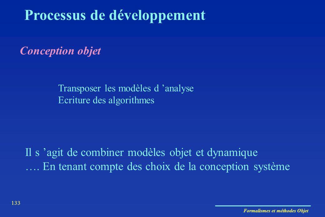 Formalismes et méthodes Objet 133 Conception objet Processus de développement Transposer les modèles d analyse Ecriture des algorithmes Il s agit de c