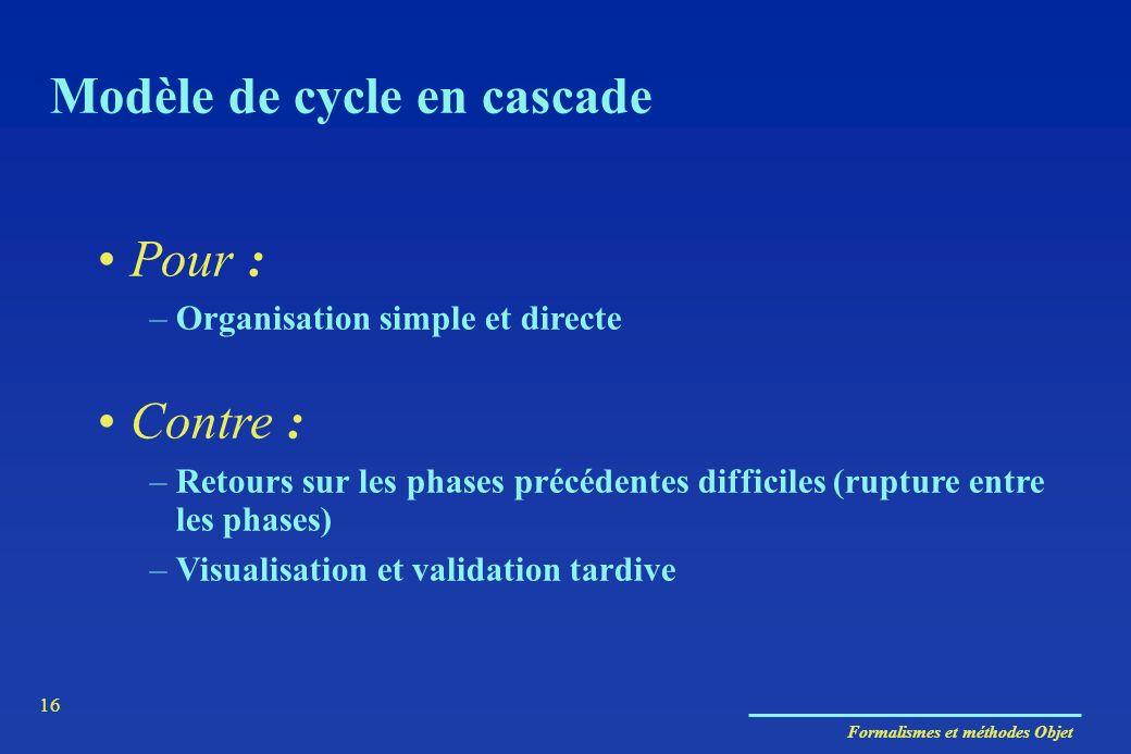 Formalismes et méthodes Objet 16 Modèle de cycle en cascade Pour : –Organisation simple et directe Contre : –Retours sur les phases précédentes diffic