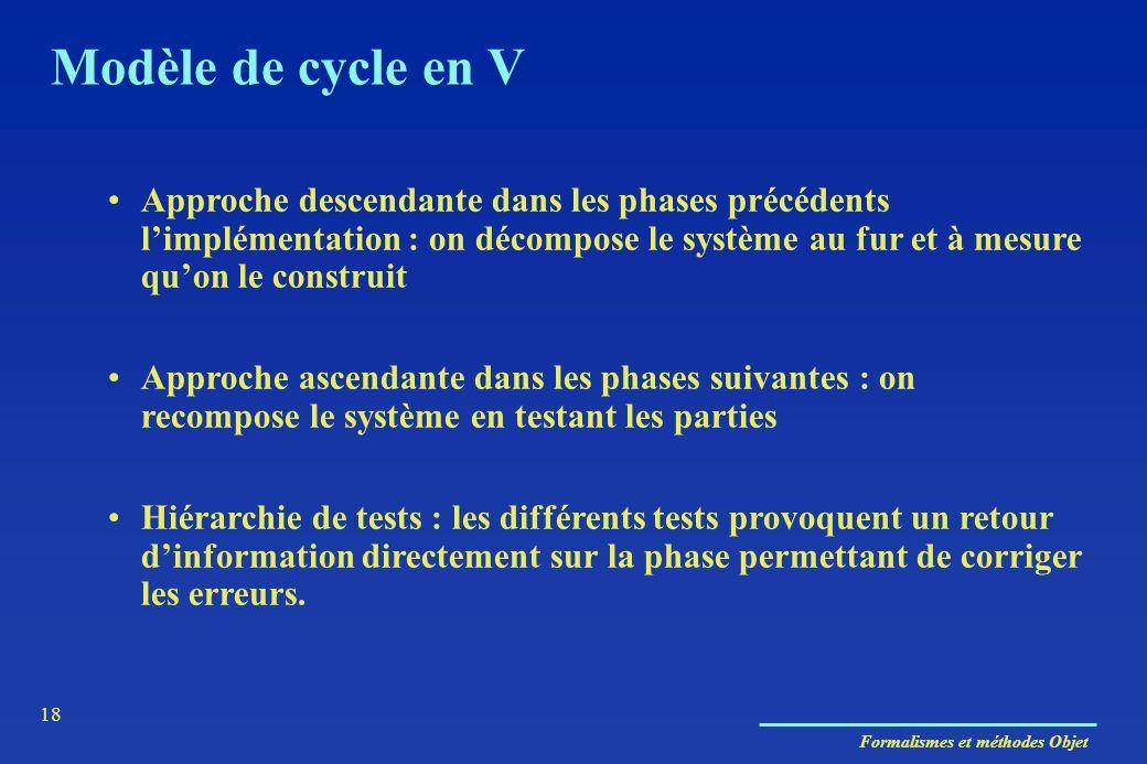 Formalismes et méthodes Objet 18 Modèle de cycle en V Approche descendante dans les phases précédents limplémentation : on décompose le système au fur