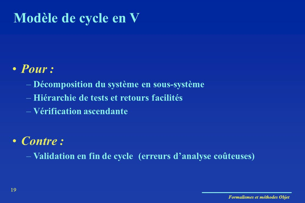 Formalismes et méthodes Objet 19 Modèle de cycle en V Pour : –Décomposition du système en sous-système –Hiérarchie de tests et retours facilités –Véri