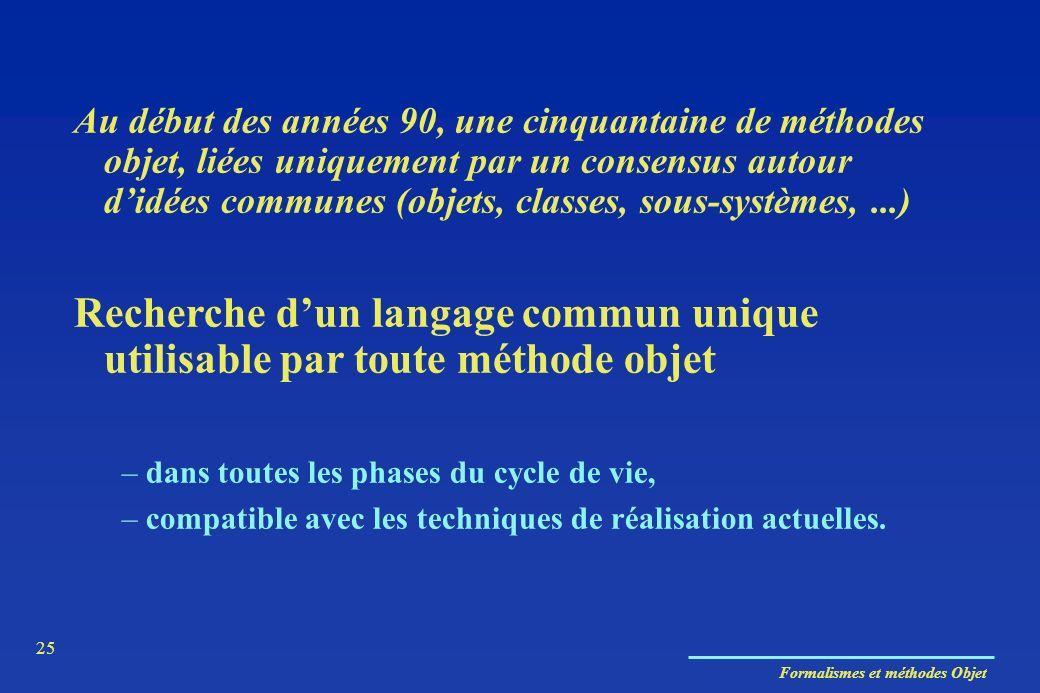 Formalismes et méthodes Objet 25 Au début des années 90, une cinquantaine de méthodes objet, liées uniquement par un consensus autour didées communes