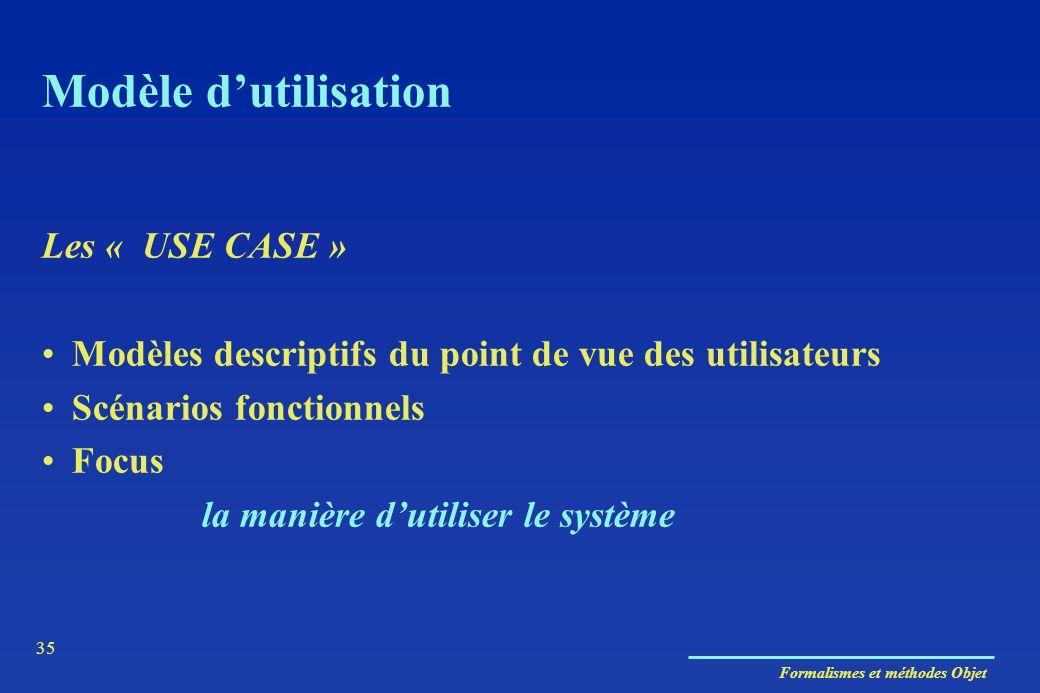 Formalismes et méthodes Objet 35 Modèle dutilisation Les « USE CASE » Modèles descriptifs du point de vue des utilisateurs Scénarios fonctionnels Focu