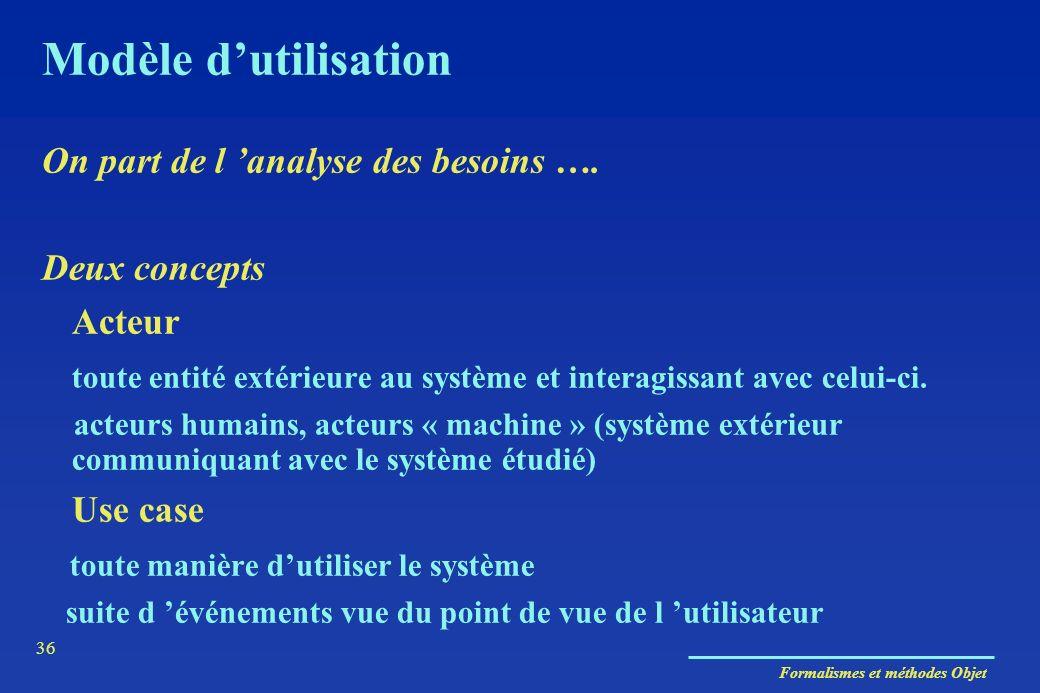 Formalismes et méthodes Objet 36 Modèle dutilisation On part de l analyse des besoins …. Deux concepts Acteur toute entité extérieure au système et in