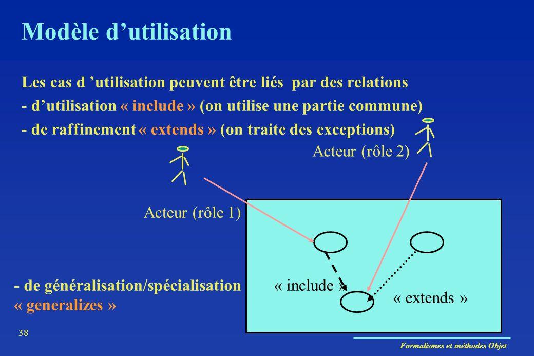 Formalismes et méthodes Objet 38 Modèle dutilisation Acteur (rôle 1) Acteur (rôle 2) Les cas d utilisation peuvent être liés par des relations - dutil