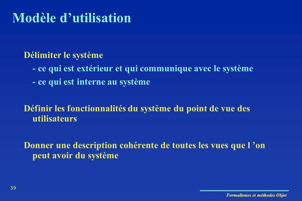 Formalismes et méthodes Objet 39 Modèle dutilisation Délimiter le système - ce qui est extérieur et qui communique avec le système - ce qui est intern