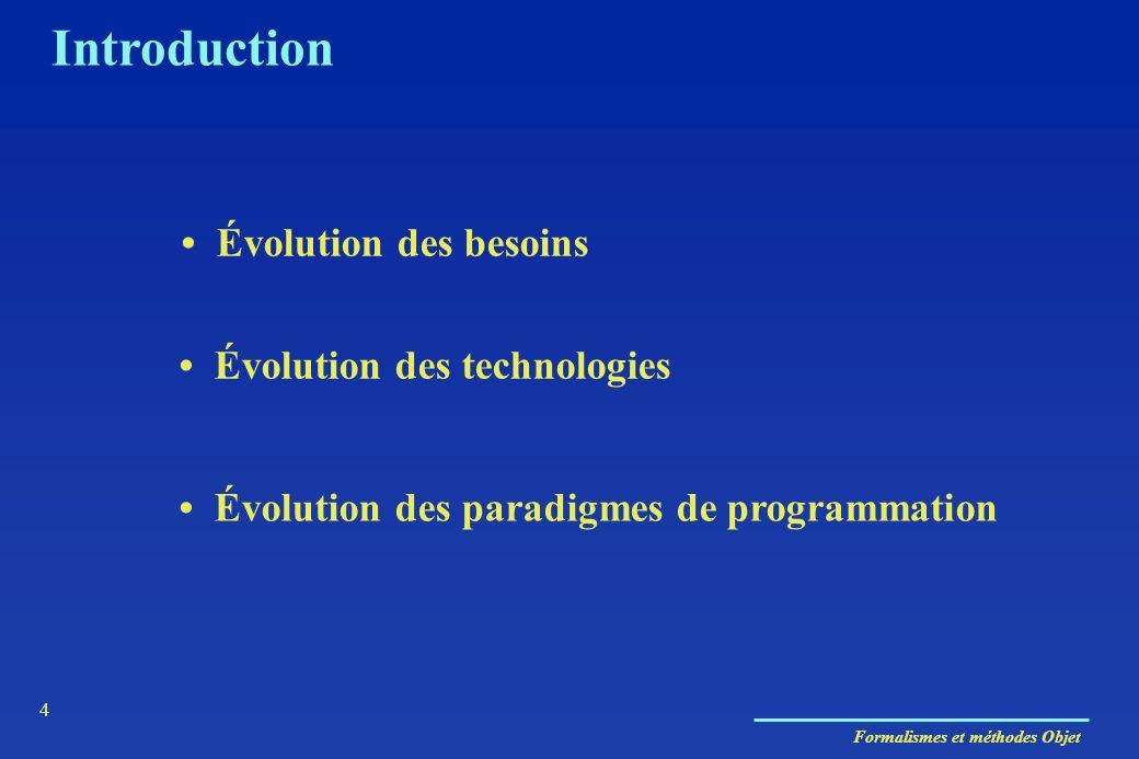 Formalismes et méthodes Objet 4 Introduction Évolution des paradigmes de programmation Évolution des besoins Évolution des technologies